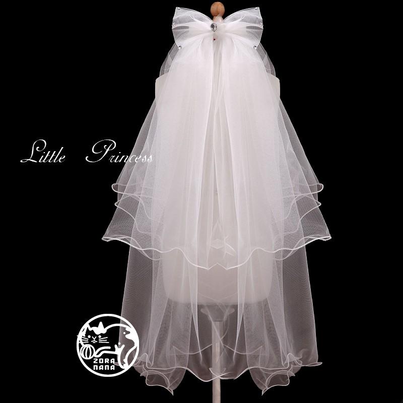 zoranana 公主裙女童婚紗花童蓬蓬裙兒童禮服生日演出服花童蕾絲頭紗兩色
