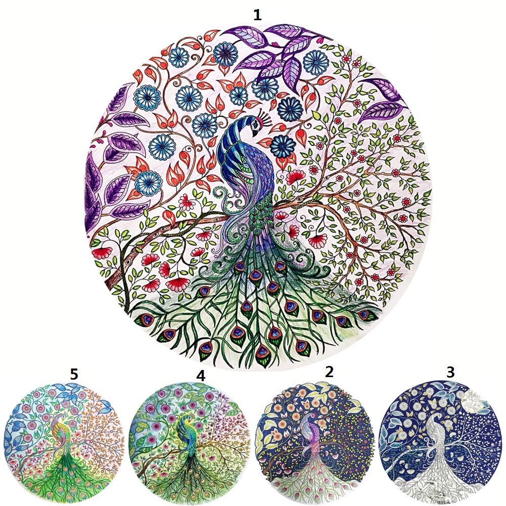 36 36cm 鑽石畫 魔方鑽孔雀圖孔雀圖案十字繡魔方圓鑽滿鑽