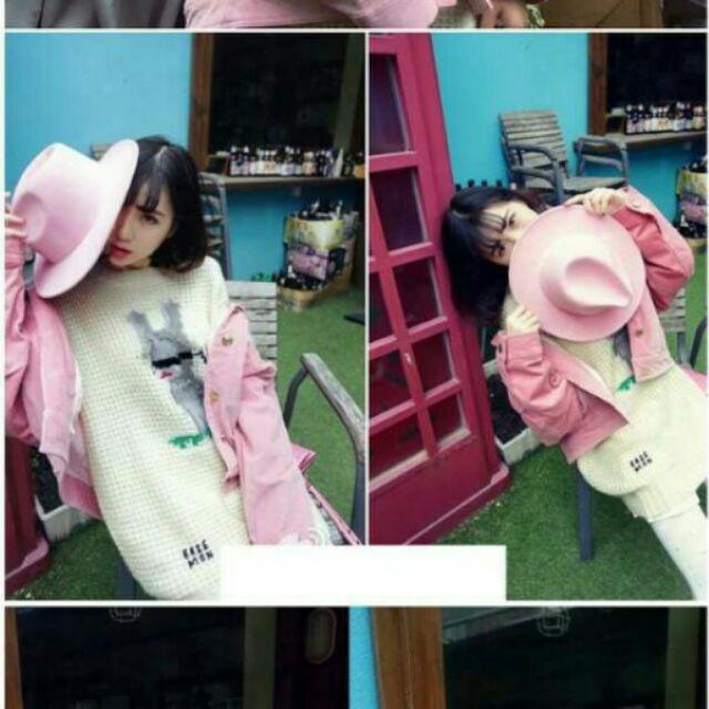 有的沒有n n 韓國秋 毛呢帽子女n 英倫復古小禮帽百搭爵士帽粉紅色