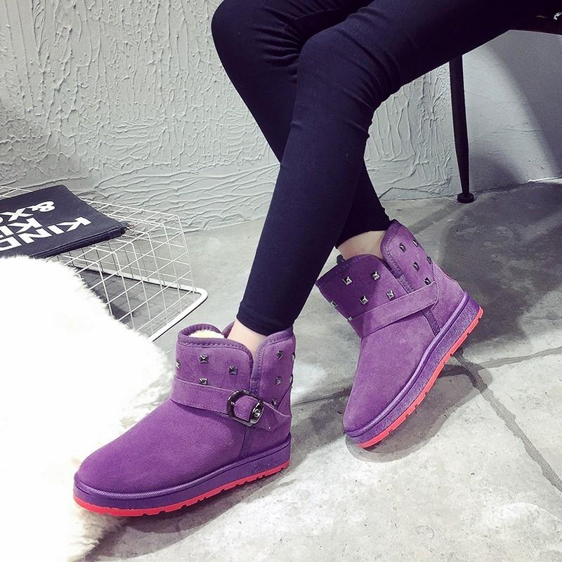 秋 磨砂中筒雪地靴加厚保暖棉鞋磨砂皮厚底鉚釘短靴女