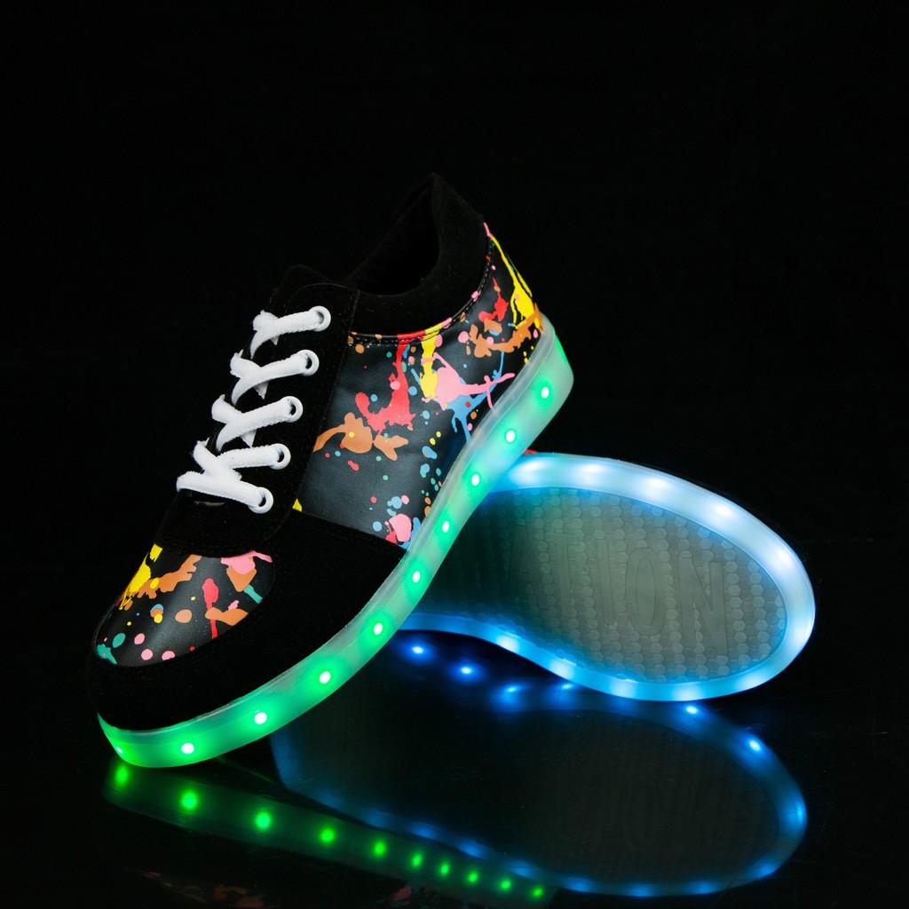廠家  led 燈光鞋七彩發光鞋USB 充電情侶鞋 休閒板鞋