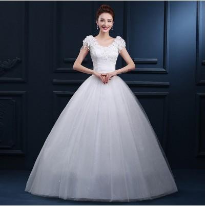 婚紗禮服新娘2016  韓式大碼一字肩婚紗雙肩齊地婚紗長拖尾