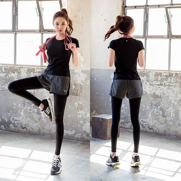 ( ➕ )韓國健身房瑜伽服套裝女假兩件跑步緊身短褲 衣