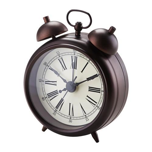 ikea 電子式靜音復古鬧鐘時鐘可懸掛指針秒針可掛可擺放鬧鈴棕色