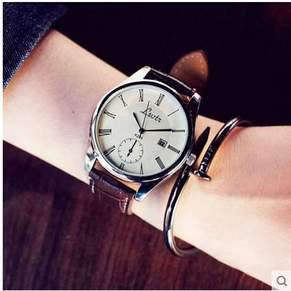 大錶盤韓國中性潮流女表 皮帶男表學生情侶超薄防水石英手錶