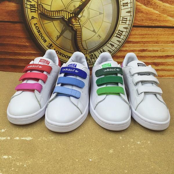 正品 Adidas Stan Smith 史密斯魔鬼氈童鞋男童女童板鞋休閒鞋愛迪達鞋子親子