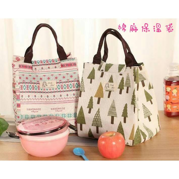 日系棉麻保溫午餐袋兒童袋防水帆布手提保溫便當包飯盒袋 裝午餐帶飯袋子