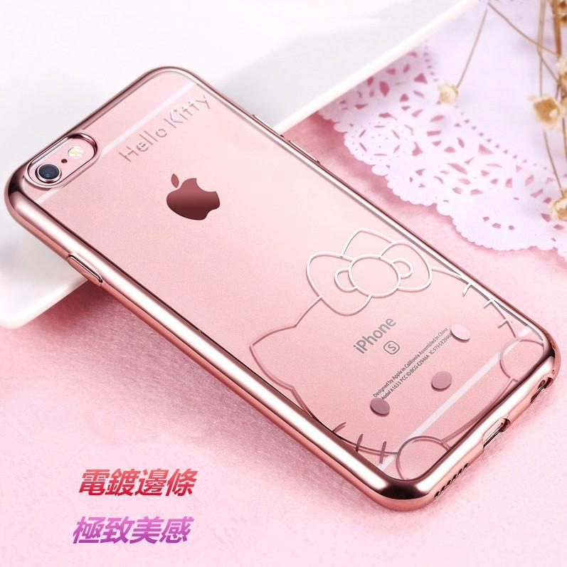 Hello kitty 手機殼玫瑰金TPU 軟殼電鍍防刮軟殼iPhone se 6s pl