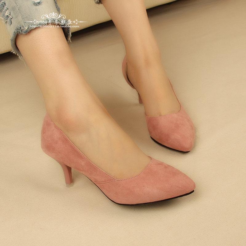 女鞋高跟鞋尖頭高跟鞋女鞋高跟鞋尖頭高跟鞋春夏新品細跟中跟絨面顯瘦尖頭單鞋淺口側空性感職業上