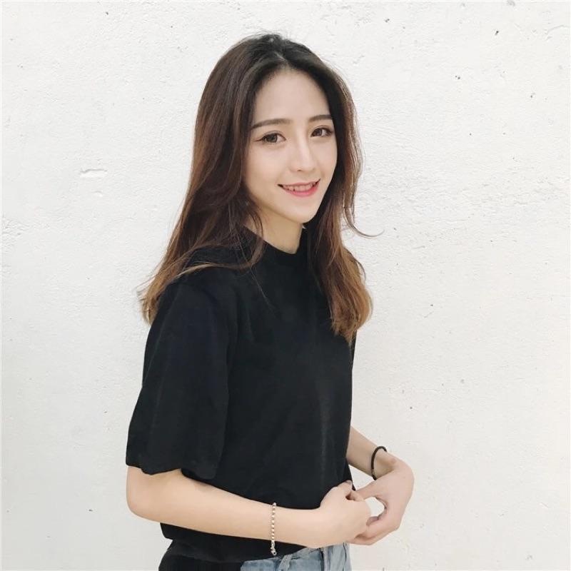 黑色 絲絨天鵝絨絨面正韓上衣 寬鬆顯瘦純色百搭短袖圓領T 恤打底衫內搭上衣