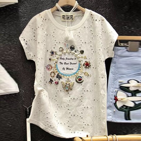 韓國㊣東大門 重工鑲鑽釘珠蕾絲鏤空短袖t