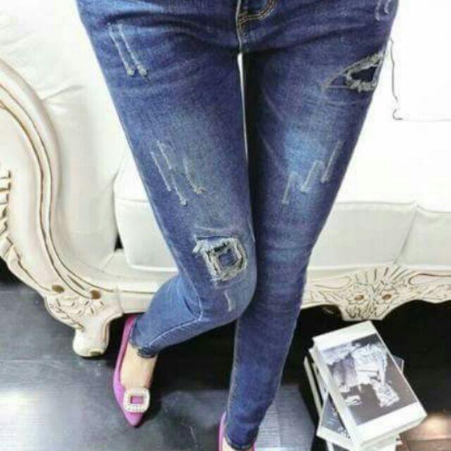 破洞補丁牛仔褲女長褲修身顯瘦小腳褲 鉛筆褲