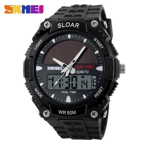 SKMEI 時刻美男士 太陽能手錶電子手錶防水雙機戶外潮流 男錶學生腕錶