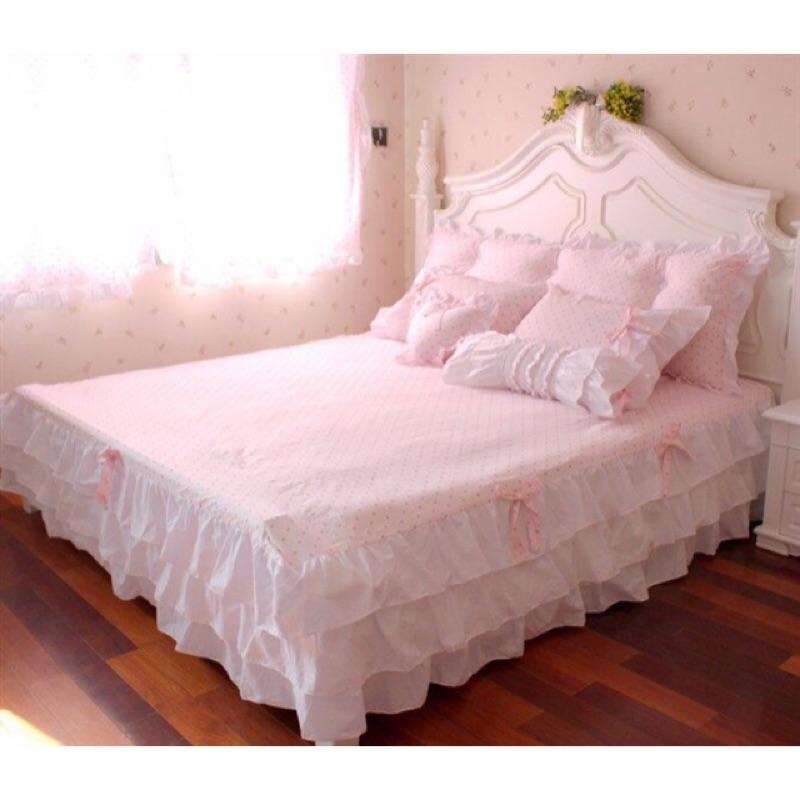 韓式浪漫點點床裙組床包被套枕套愛心枕糖果枕抱枕單人床雙人床雙人加大