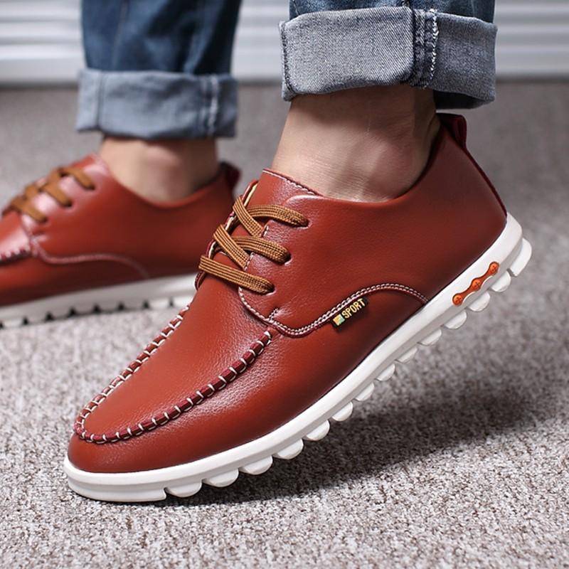 香香的家男鞋 潮鞋 男士 皮鞋英倫圓頭系帶豆豆鞋青年大碼鞋子男