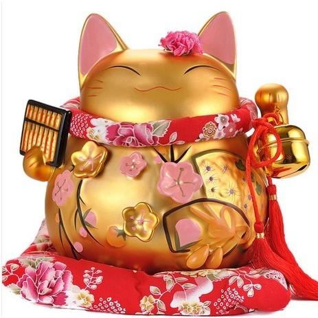 可愛招財貓櫃台擺件招福大吉服飾店餐廳開店開業 金算盤金色招財貓
