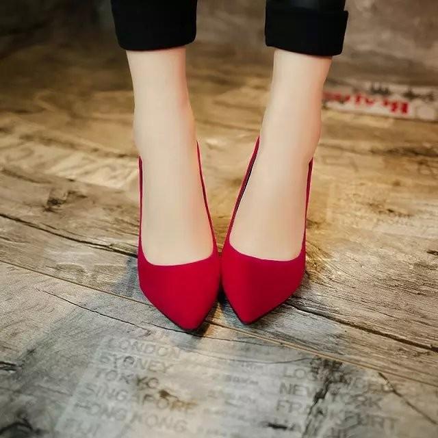 春 女鞋純色高跟鞋細跟尖頭淺口性感單鞋婚鞋反絨工作鞋女