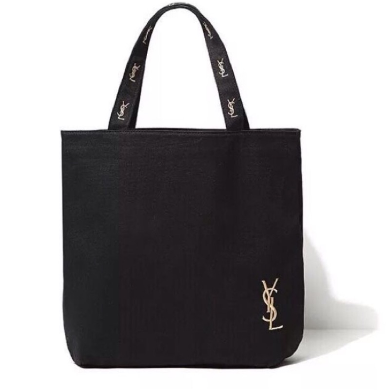 YSL 聖羅蘭雜誌黑色帆布側肩包 袋托特包書包側背包手提包附錄金色刺繡非香奈兒chanel