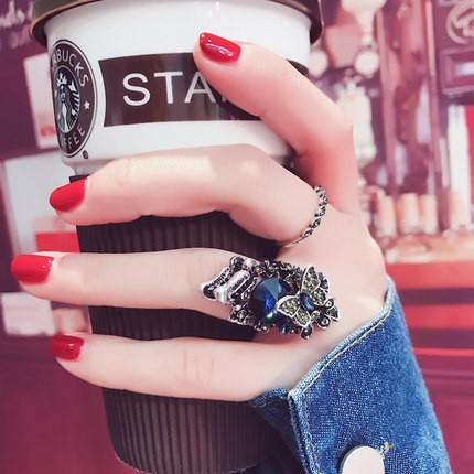 粉妝日韓簡約關節戒指 潮人飾品 鑲鉆夸張尾戒指環復古配飾