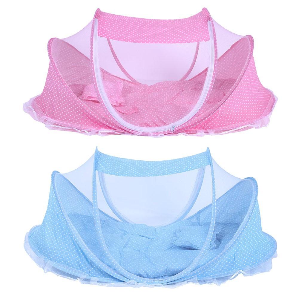寶寶蚊帳嬰兒折疊睡墊枕頭蚊帳床音樂包三件套0 2 歲兒童蚊帳