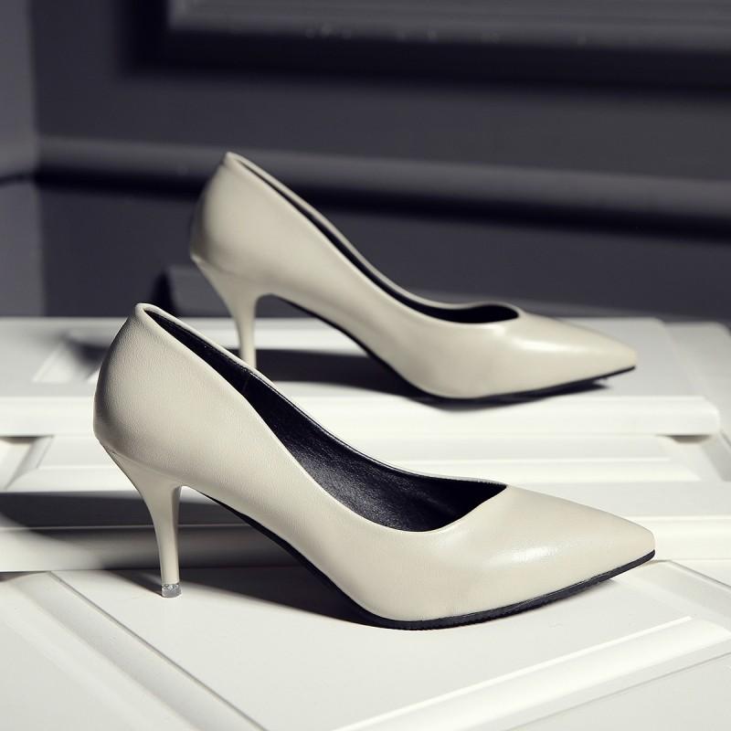 ~hello 大小姐~ 高跟鞋細跟女鞋性感顯瘦尖頭淺口職業漆皮百搭中跟單鞋夏