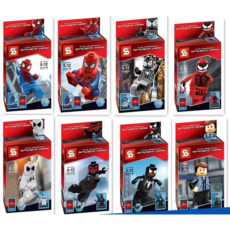 ~小喬兒~~ ~~SY 牌188 ~超級英雄蜘蛛人8 入樂高積木玩具公仔與LEGO 相容森