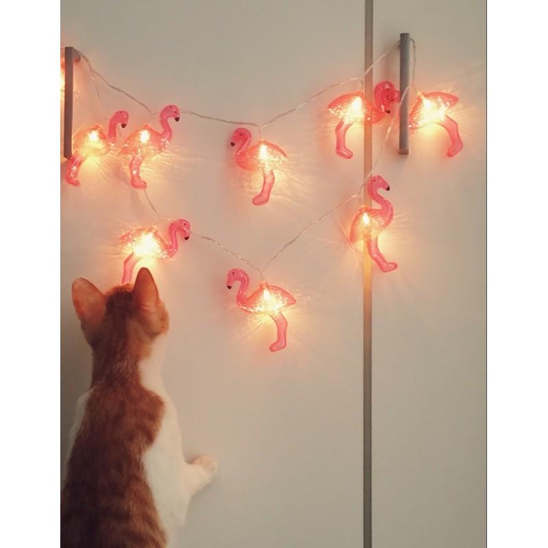 韓國少女佈置房間火焰鳥紅鶴粉嫩燈串