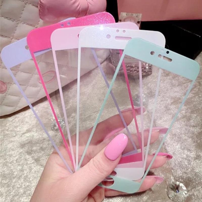 彩色閃粉前後鋼化膜iphone6 6plus 全屏覆蓋鋼化玻璃膜蘋果5s 貼膜