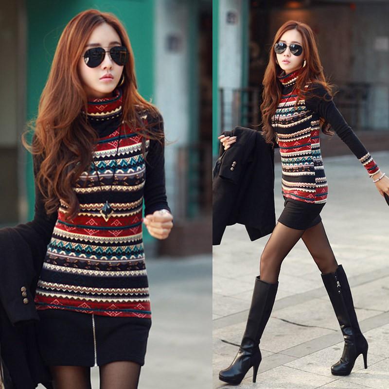2016  长袖t 恤女韩版时尚印花高领百搭短款休闲女装潮打底衫上衣保暖修身小衫