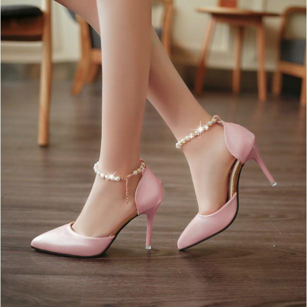 夢幻超美高跟鞋水鑽一字搭扣性感尖頭鞋鞋跟9cm
