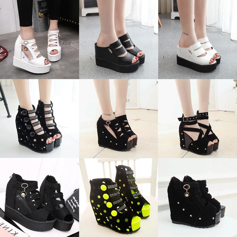 春  女鞋鏤空厚底短靴松糕底坡跟內增高魚嘴涼鞋