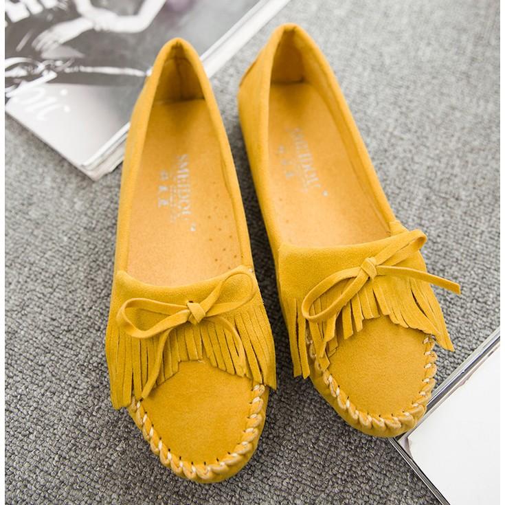 豆豆鞋流蘇豆豆鞋柔軟黑色黃色