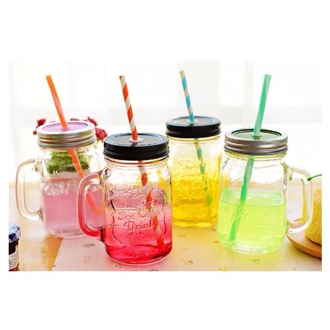 夏日玻璃彩色漸層水瓶梅森杯