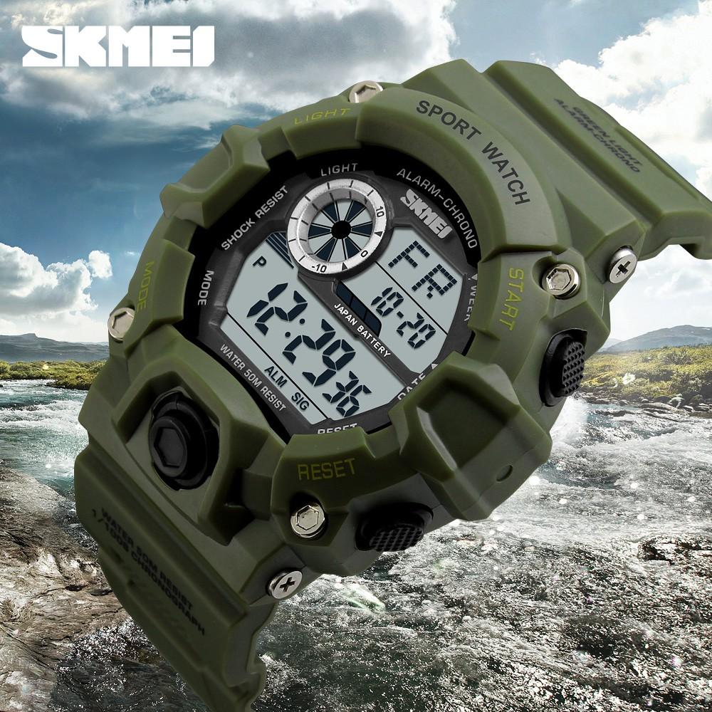 SKMEI 品牌數碼LED 50M 防水男士軍用 手錶 男士電子戶外休閒手錶