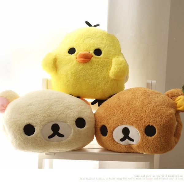 貼心暖手拉拉熊黃色小雞舒棉絨抱枕靠枕生日 暖手枕頭型抱枕