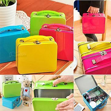 馬卡龍糖果色手提行李箱鐵盒化妝置物盒收藏秘密收納箱旅行化妝品保養品衛生棉