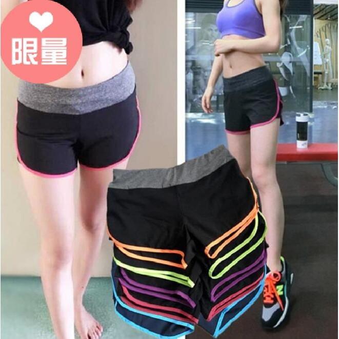 健身熱褲透氣跑步 速乾彈力短褲女士瑜伽褲內襯套裝