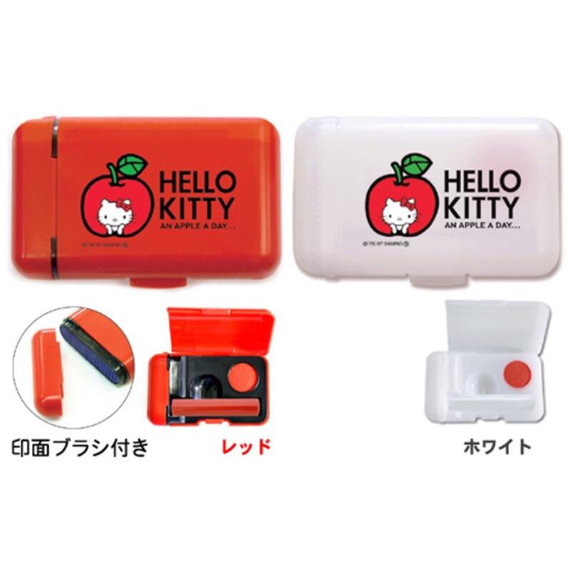 連雲刻印kitty 紅蘋果印章盒含印泥有附印章清潔刷 三麗鷗哈囉凱蒂貓SANRIO