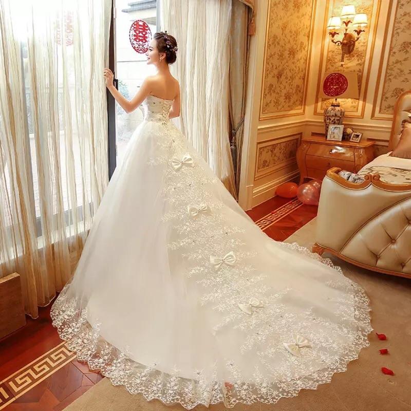 平口蕾絲蝴蝶結長拖尾婚紗禮服白紗宴客外拍