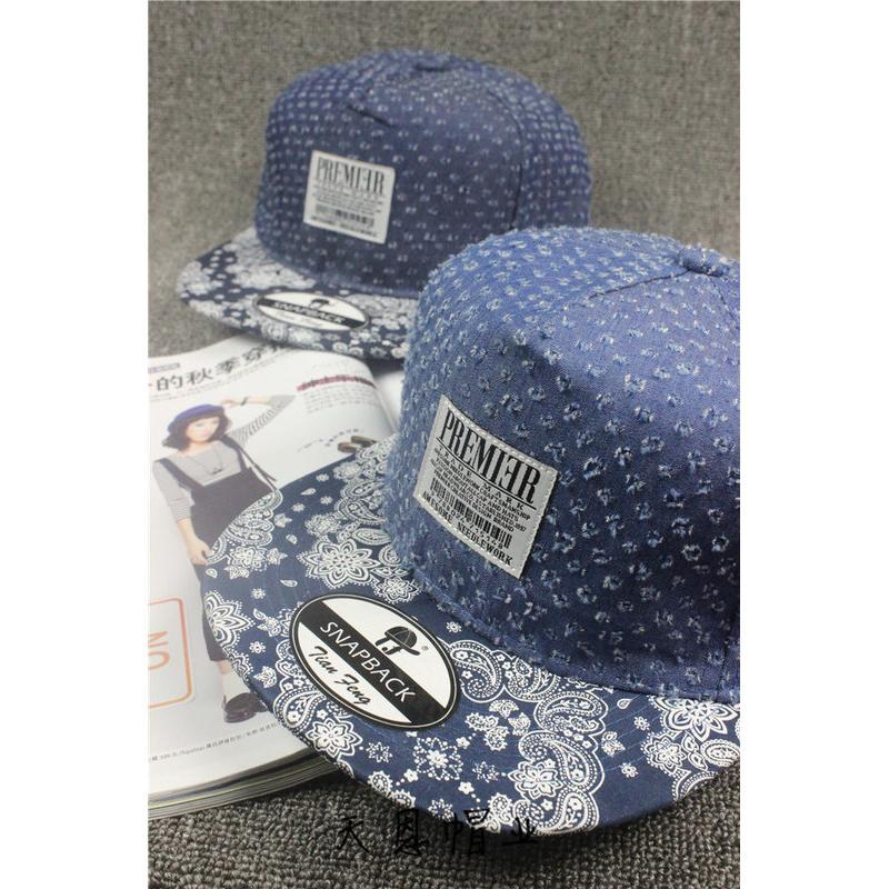 新上市牛仔帽棒球帽貼布復古破洞牛仔 嘻哈帽情侶帽團體帽街舞帽變形蟲腰花果圖騰帽清新風