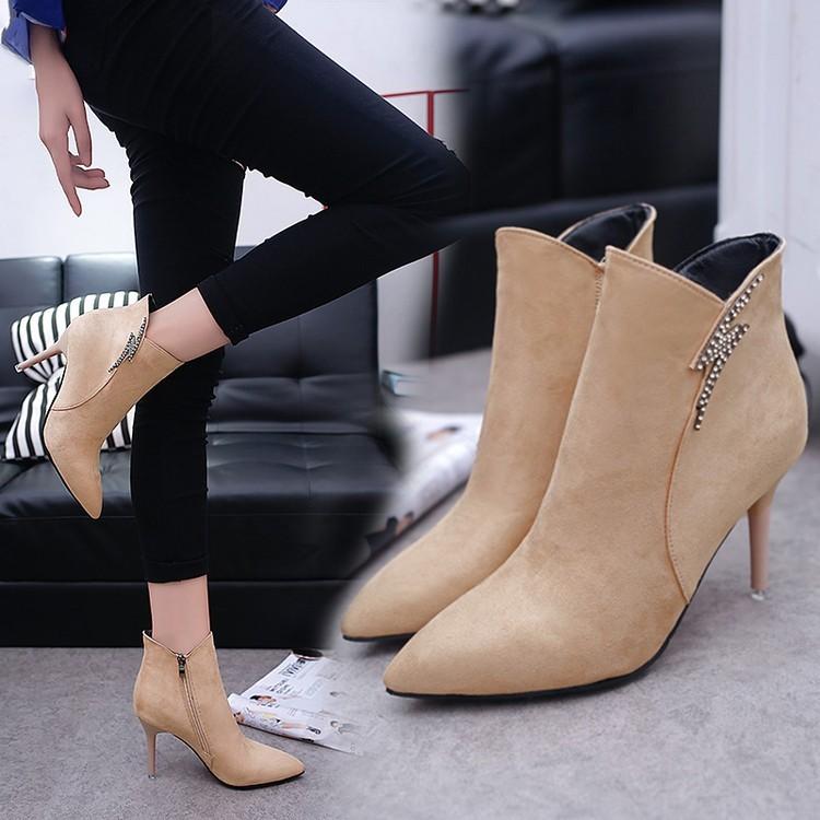 ~本小姐任性~性感顯瘦真皮尖頭短靴及裸靴 高跟鞋細跟馬丁靴2016 女單靴
