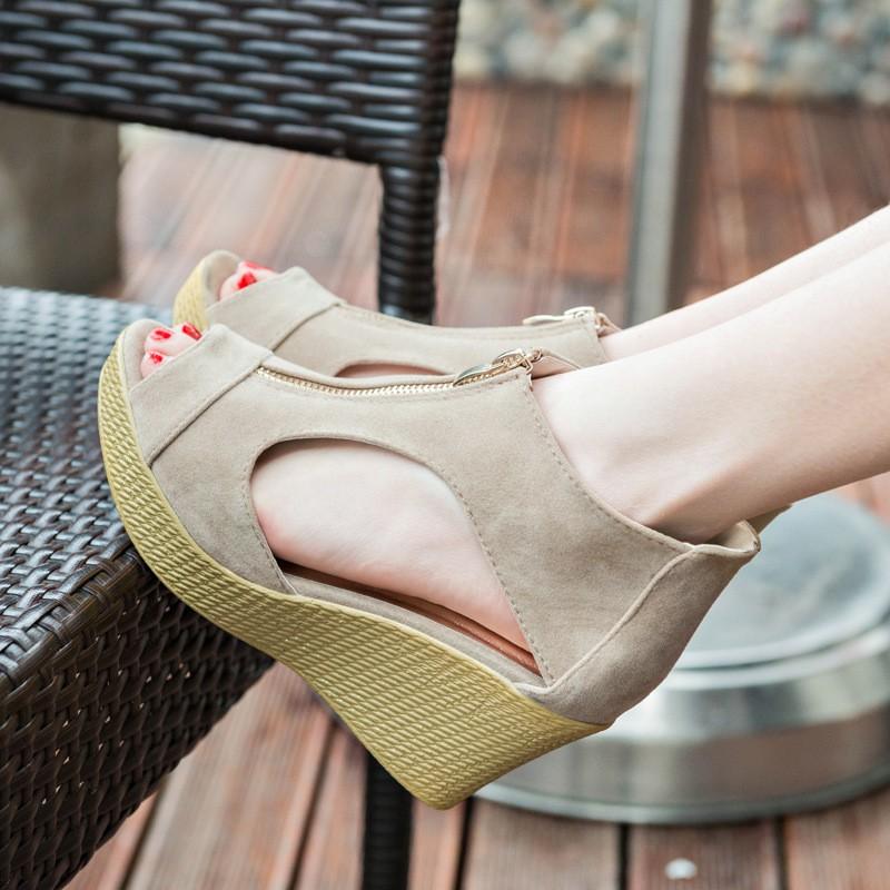 春夏 涼鞋女魚嘴厚底松糕涼鞋防水臺拉鏈坡跟高跟羅馬鞋