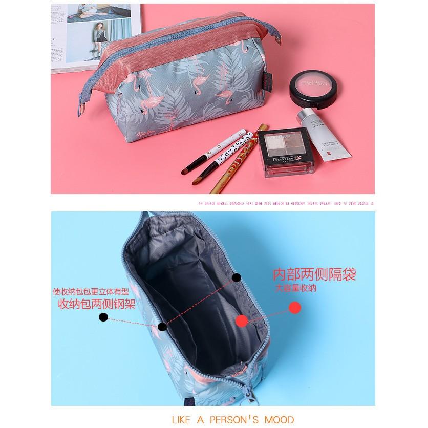 韓國 多 立體火烈鳥大容量旅行雜收收納包袋女式手拿便攜化妝包