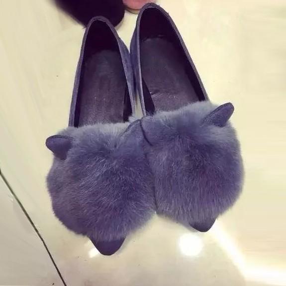 韓范春 兔毛耳朵淺口尖頭平底鞋毛毛豆豆鞋女單鞋懶人鞋