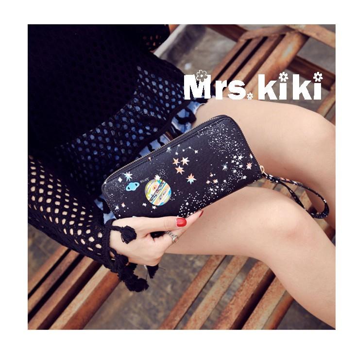 Mrs kiki ☺ 印花星空長款皮夾手拿手機零錢包~PD222 ~