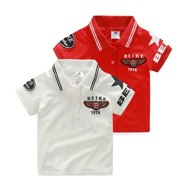 E1507 韓系男童寶寶賽車手風貼標印字短袖上衣T 恤POLO 衫翻領上衣 MAMA 咪呀