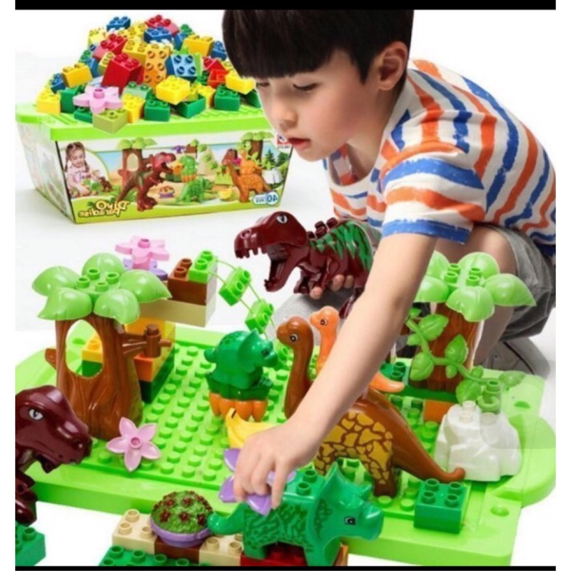 超大盒恐龍樂園積木侏羅紀公園恐龍場景積木40 片 積木大顆粒積木恐龍樂園侏儸紀公園