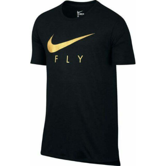 NIKE SWOOSH FLY DROPTAIL TEE 黑金配色SIZE :L XL 2