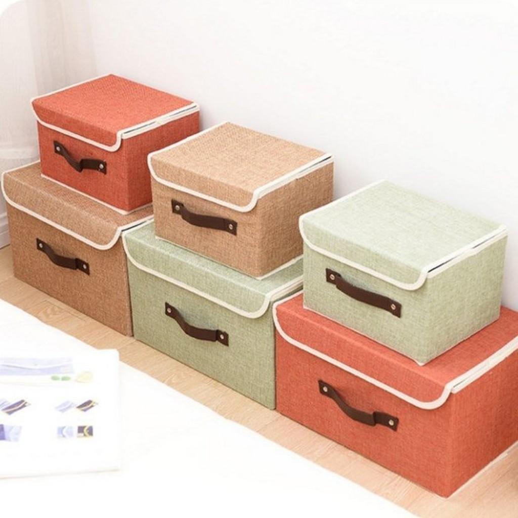 收納箱~BNA035 ~高檔亞麻布質收納整理箱9L 文具收納箱防潮防塵衣物收納收納女王