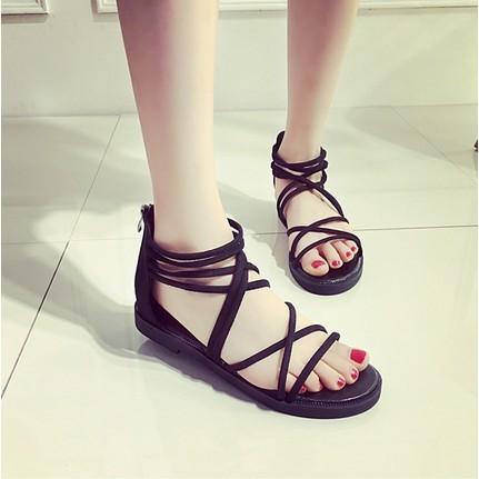 鞋底 橡膠鞋頭款式露趾后跟高平跟小于等于1cm 跟底款式平底鞋幫高度低幫 元素T 型綁帶鏤